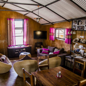 Ongula Homestead hut lounge